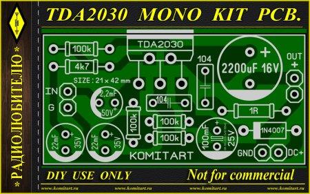 TDA2030 MONO KIT PCB KOMITART Project
