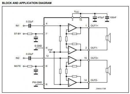 TDA7297 Amplifier Datasheet Schematic