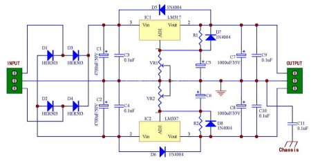 Power Supply Kit Based on LM317-LM337  Schematic