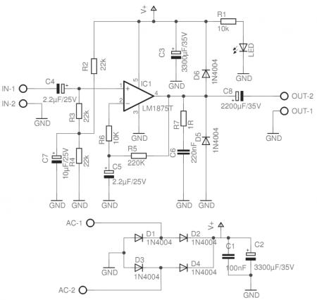 LM1875 power amplifier schematic